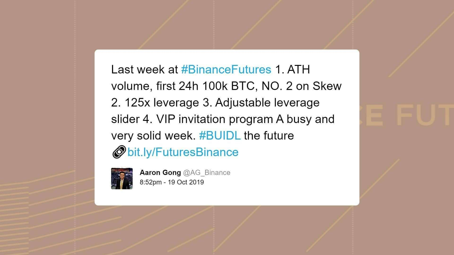 CryptoSlate: Binance Exec: Bitcoin futures volume rose significantly in 2019, as it raises leverage to 125x